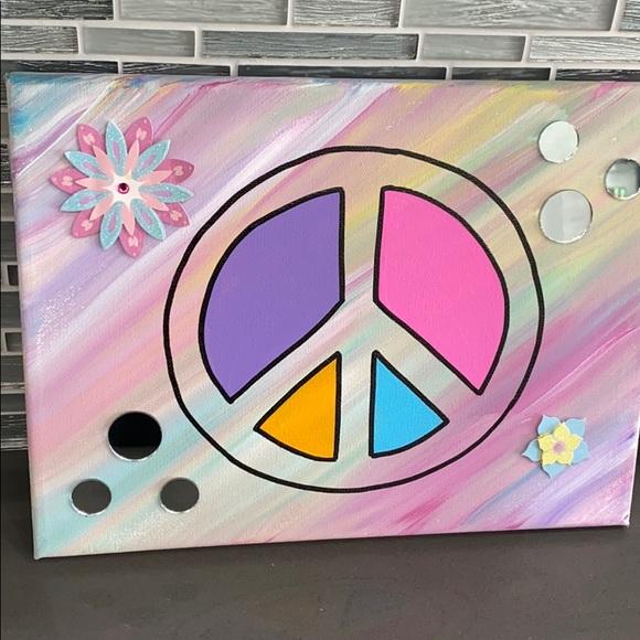 Peace Sign Purple Flowers Vinyl Sticker SELECT SIZE